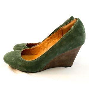 CLARKS Suede Wedge Heel in Green